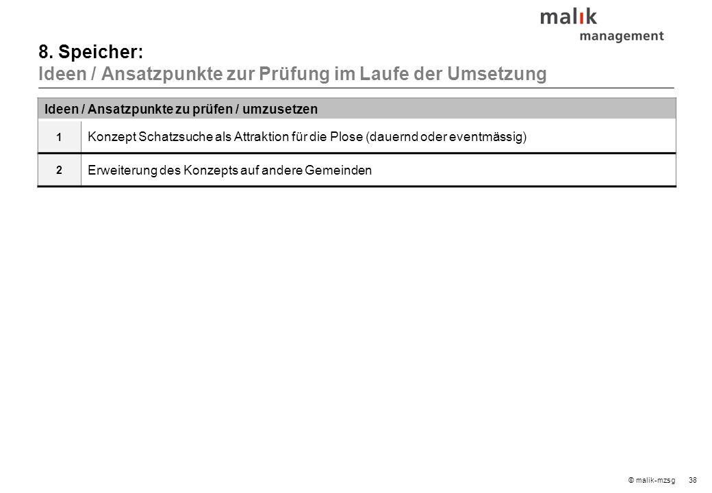 38© malik-mzsg Ideen / Ansatzpunkte zu prüfen / umzusetzen 1 Konzept Schatzsuche als Attraktion für die Plose (dauernd oder eventmässig) 2 Erweiterung des Konzepts auf andere Gemeinden 8.