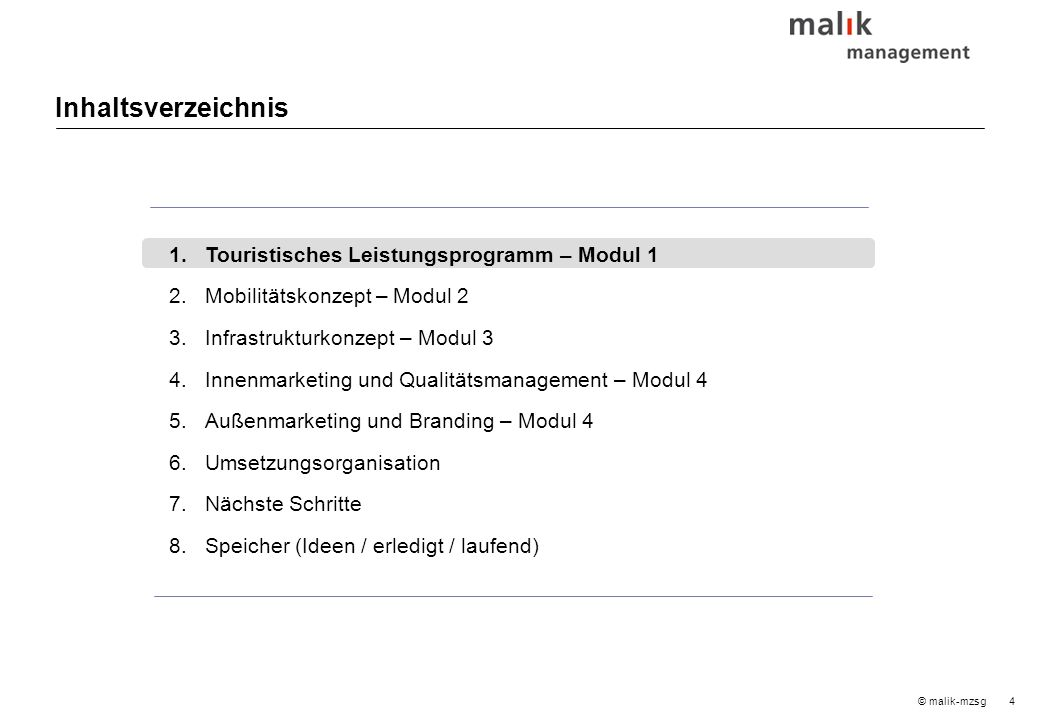 35© malik-mzsg Inhaltsverzeichnis 1.Touristisches Leistungsprogramm – Modul 1 2.Mobilitätskonzept – Modul 2 3.Infrastrukturkonzept – Modul 3 4.Innenmarketing und Qualitätsmanagement – Modul 4 5.Außenmarketing und Branding – Modul 4 6.Umsetzungsorganisation 7.Nächste Schritte 8.Speicher (Ideen / erledigt / laufend)