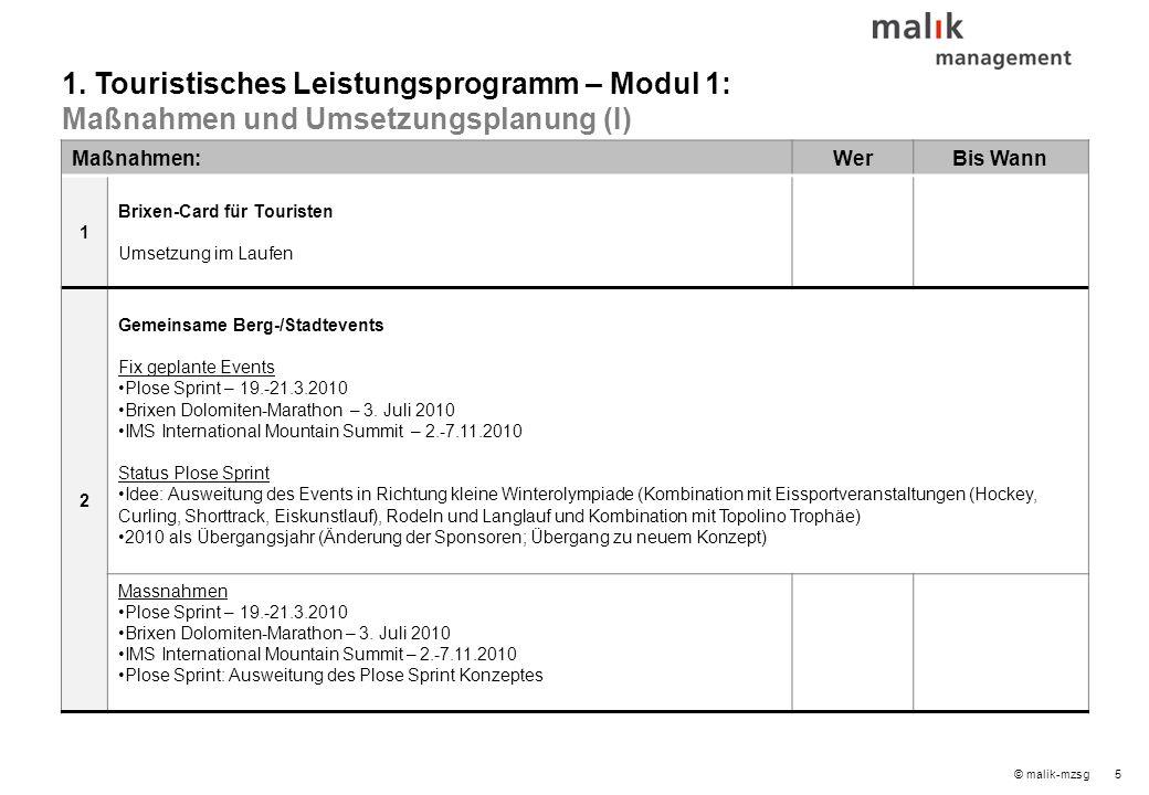 26© malik-mzsg Inhaltsverzeichnis 1.Touristisches Leistungsprogramm – Modul 1 2.Mobilitätskonzept – Modul 2 3.Infrastrukturkonzept – Modul 3 4.Innenmarketing und Qualitätsmanagement – Modul 4 5.Außenmarketing und Branding – Modul 4 6.Umsetzungsorganisation 7.Nächste Schritte 8.Speicher (Ideen / erledigt / laufend) Seite