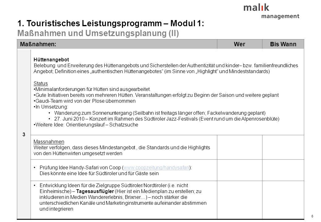 37© malik-mzsg Inhaltsverzeichnis 1.Touristisches Leistungsprogramm – Modul 1 2.Mobilitätskonzept – Modul 2 3.Infrastrukturkonzept – Modul 3 4.Innenmarketing und Qualitätsmanagement – Modul 4 5.Außenmarketing und Branding – Modul 4 6.Umsetzungsorganisation 7.Nächste Schritte 8.Speicher (Ideen / erledigt / laufend)