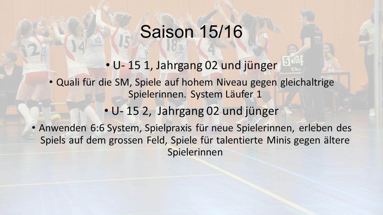 Saison 15/16 U- 15 1, Jahrgang 02 und jünger Quali für die SM, Spiele auf hohem Niveau gegen gleichaltrige Spielerinnen.