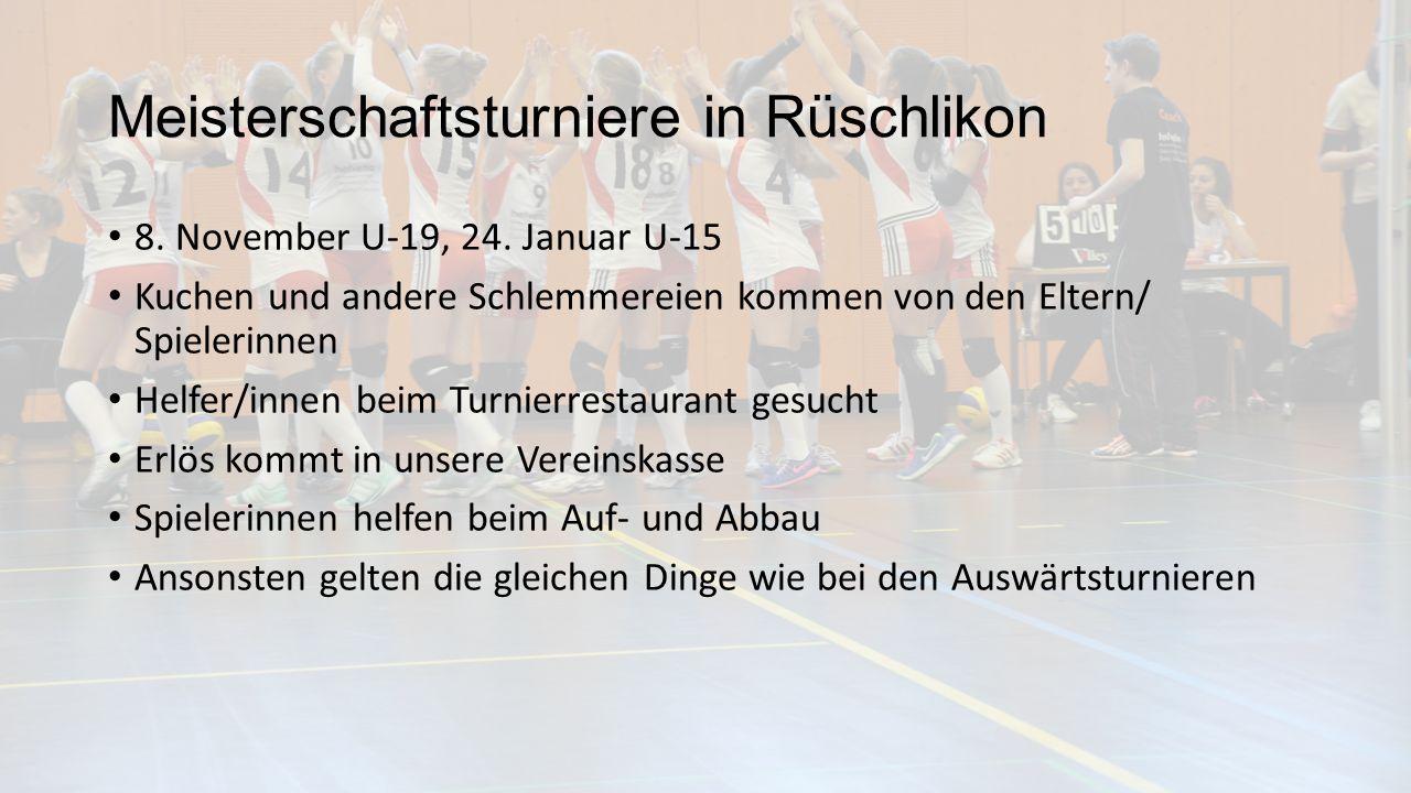 Meisterschaftsturniere in Rüschlikon 8. November U-19, 24.