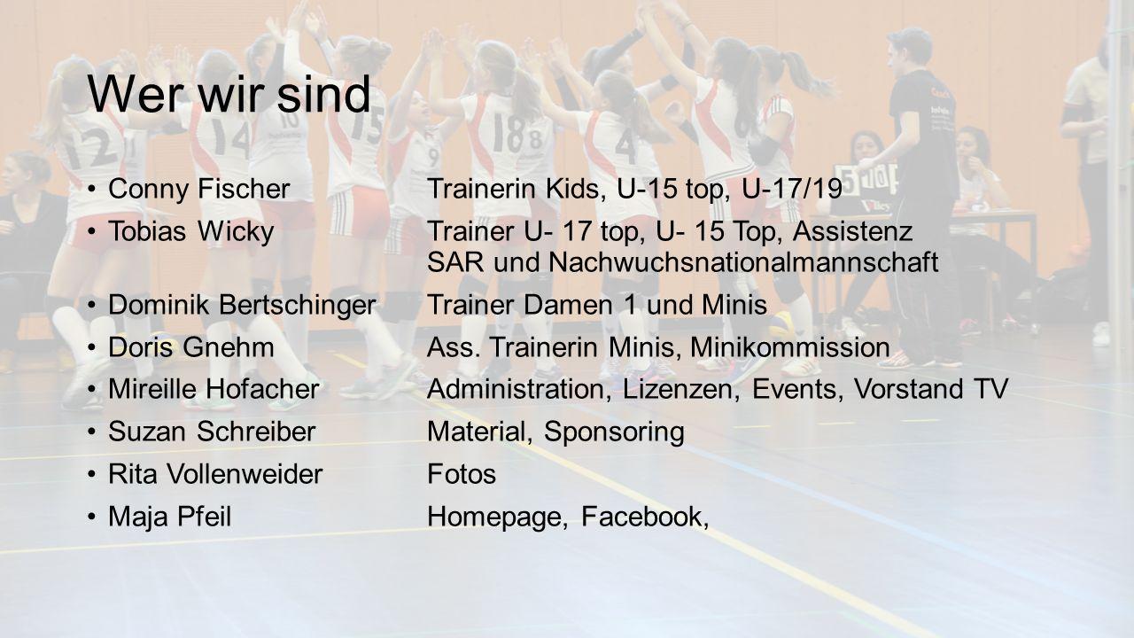 Wer wir sind Conny FischerTrainerin Kids, U-15 top, U-17/19 Tobias WickyTrainer U- 17 top, U- 15 Top, Assistenz SAR und Nachwuchsnationalmannschaft Dominik BertschingerTrainer Damen 1 und Minis Doris GnehmAss.