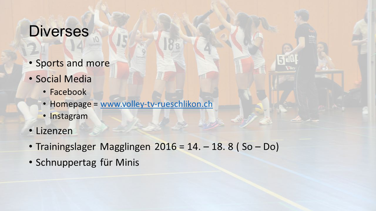 Diverses Sports and more Social Media Facebook Homepage =   Instagram Lizenzen Trainingslager Magglingen 2016 = 14.