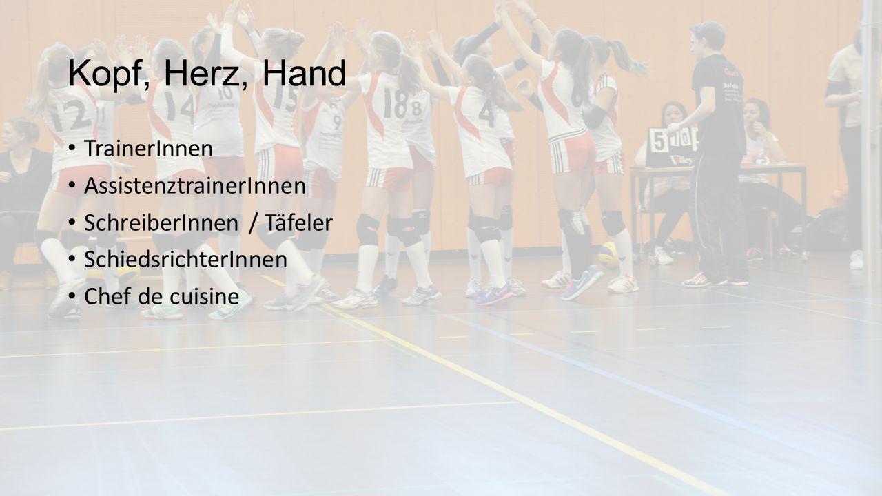 Kopf, Herz, Hand TrainerInnen AssistenztrainerInnen SchreiberInnen / Täfeler SchiedsrichterInnen Chef de cuisine