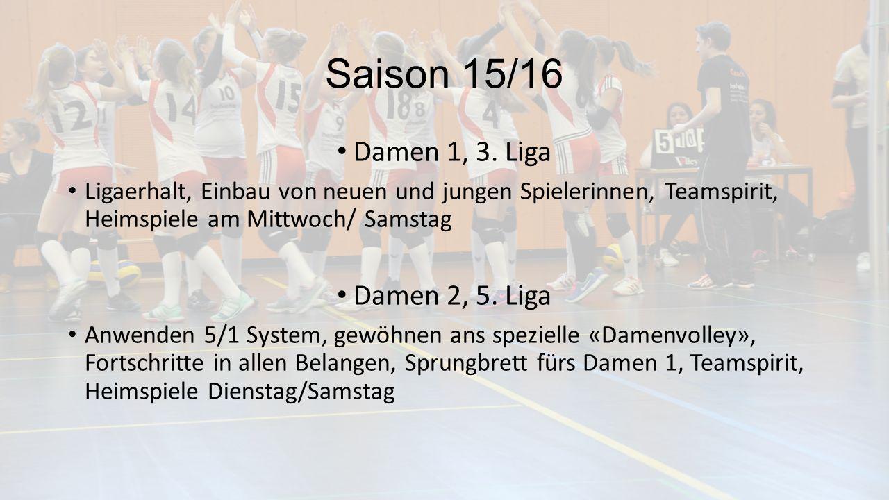 Saison 15/16 Damen 1, 3. Liga Ligaerhalt, Einbau von neuen und jungen Spielerinnen, Teamspirit, Heimspiele am Mittwoch/ Samstag Damen 2, 5. Liga Anwen