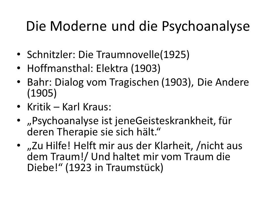 """Die Moderne und die Psychoanalyse Schnitzler: Die Traumnovelle(1925) Hoffmansthal: Elektra (1903) Bahr: Dialog vom Tragischen (1903), Die Andere (1905) Kritik – Karl Kraus: """"Psychoanalyse ist jeneGeisteskrankheit, für deren Therapie sie sich hält. """"Zu Hilfe."""