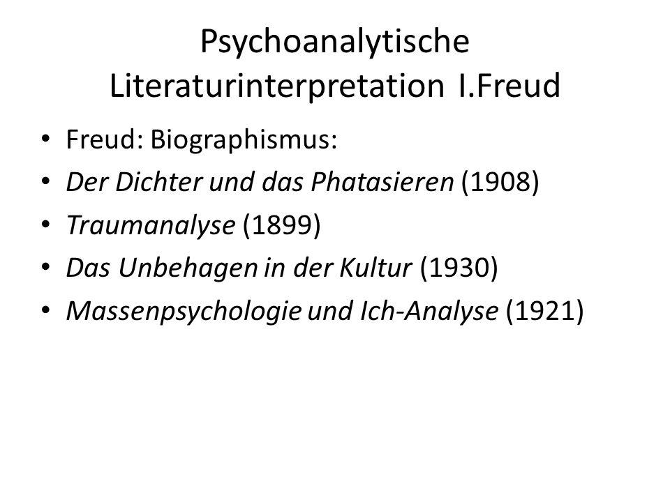 Psychoanalytische Literaturinterpretation I.Freud Freud: Biographismus: Der Dichter und das Phatasieren (1908) Traumanalyse (1899) Das Unbehagen in der Kultur (1930) Massenpsychologie und Ich-Analyse (1921)