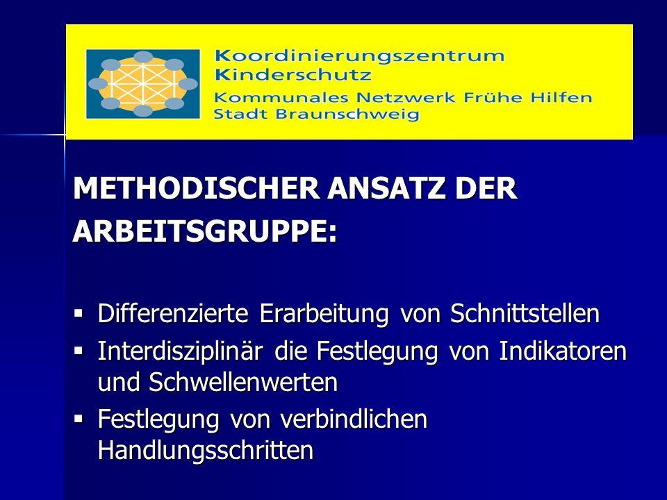 METHODISCHER ANSATZ DER ARBEITSGRUPPE:  Differenzierte Erarbeitung von Schnittstellen  Interdisziplinär die Festlegung von Indikatoren und Schwellen