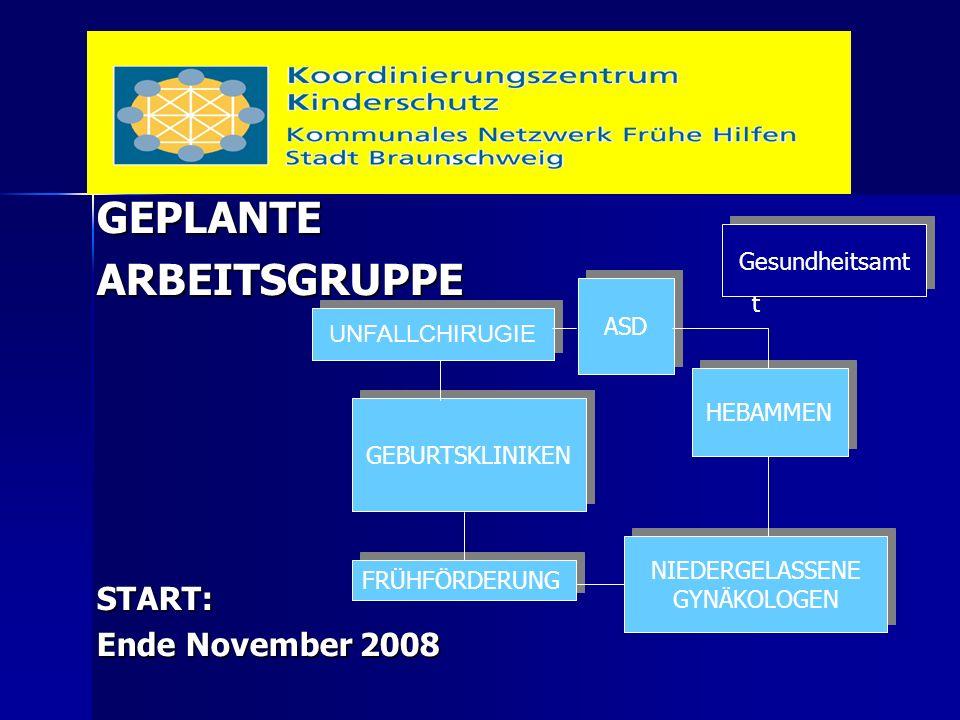 GEPLANTEARBEITSGRUPPESTART: Ende November 2008 ASD GEBURTSKLINIKEN NIEDERGELASSENE GYNÄKOLOGEN NIEDERGELASSENE GYNÄKOLOGEN HEBAMMEN Gesundheitsam t Unfallchirurgie UNFALLCHIRUGIE FRÜHFÖRDERUNG