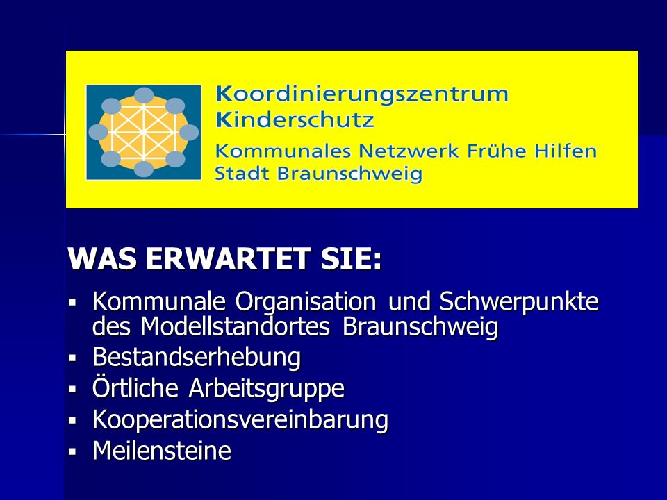 WAS ERWARTET SIE:  Kommunale Organisation und Schwerpunkte des Modellstandortes Braunschweig  Bestandserhebung  Örtliche Arbeitsgruppe  Kooperatio