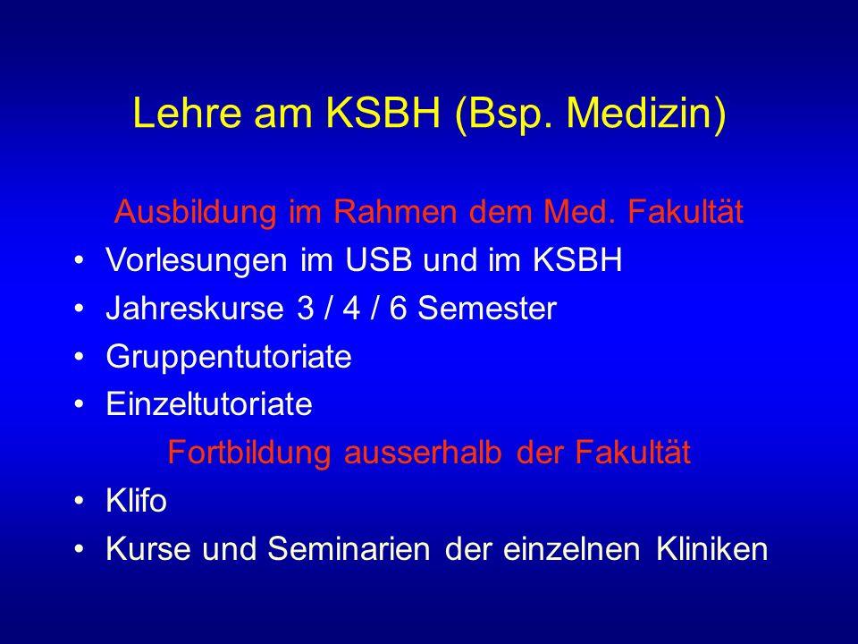 Lehre am KSBH (Bsp.Medizin) Ausbildung im Rahmen dem Med.