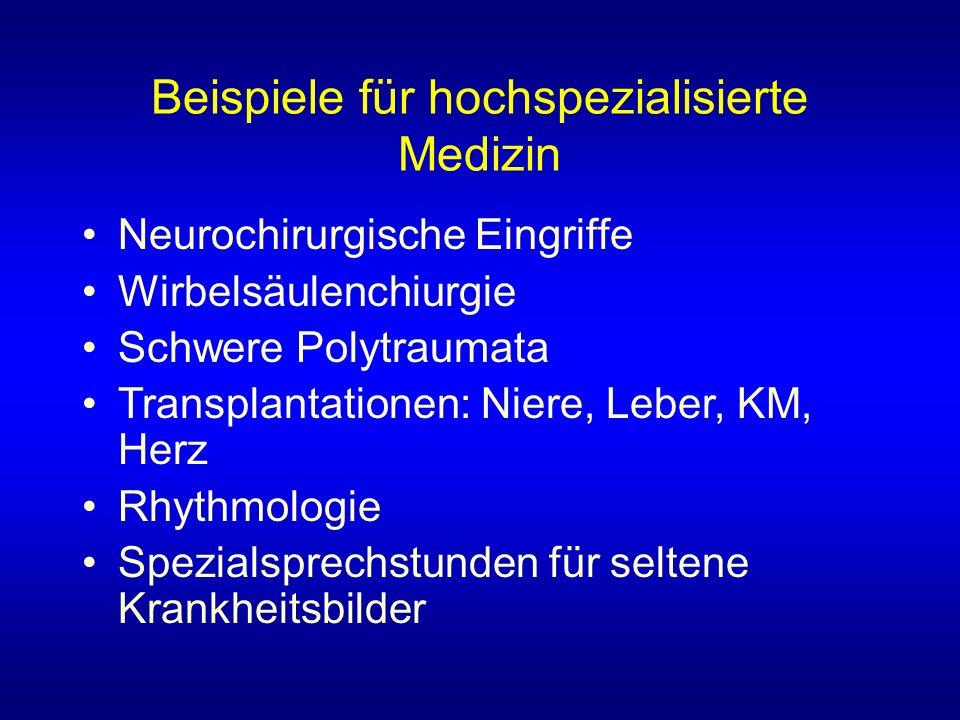 Beispiele für hochspezialisierte Medizin Neurochirurgische Eingriffe Wirbelsäulenchiurgie Schwere Polytraumata Transplantationen: Niere, Leber, KM, Herz Rhythmologie Spezialsprechstunden für seltene Krankheitsbilder