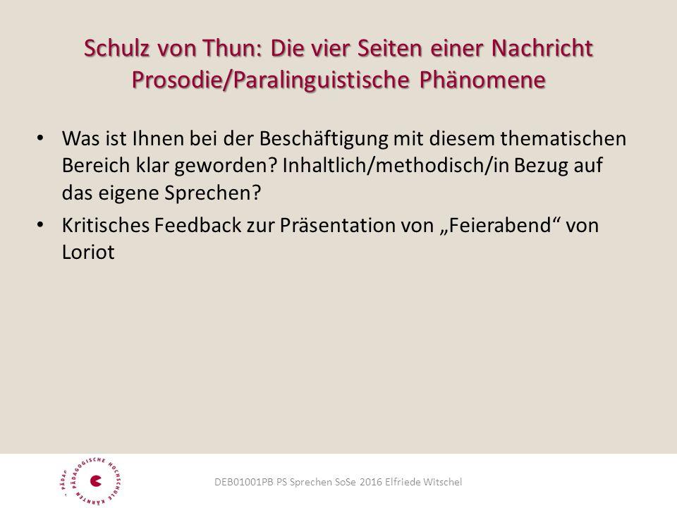Schulz von Thun: Die vier Seiten einer Nachricht Prosodie/Paralinguistische Phänomene Was ist Ihnen bei der Beschäftigung mit diesem thematischen Bereich klar geworden.