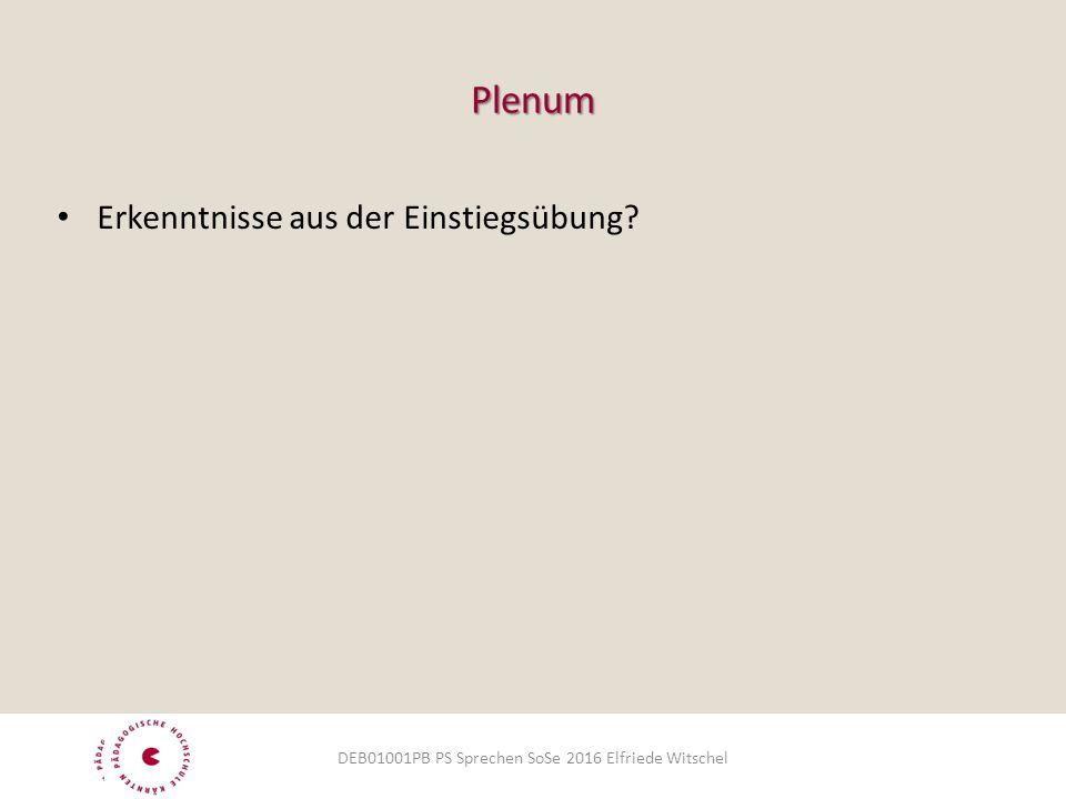 Plenum Erkenntnisse aus der Einstiegsübung DEB01001PB PS Sprechen SoSe 2016 Elfriede Witschel