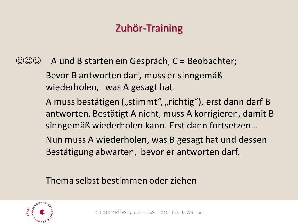 Zuhör-Training  A und B starten ein Gespräch, C = Beobachter; Bevor B antworten darf, muss er sinngemäß wiederholen, was A gesagt hat. A muss bestäti