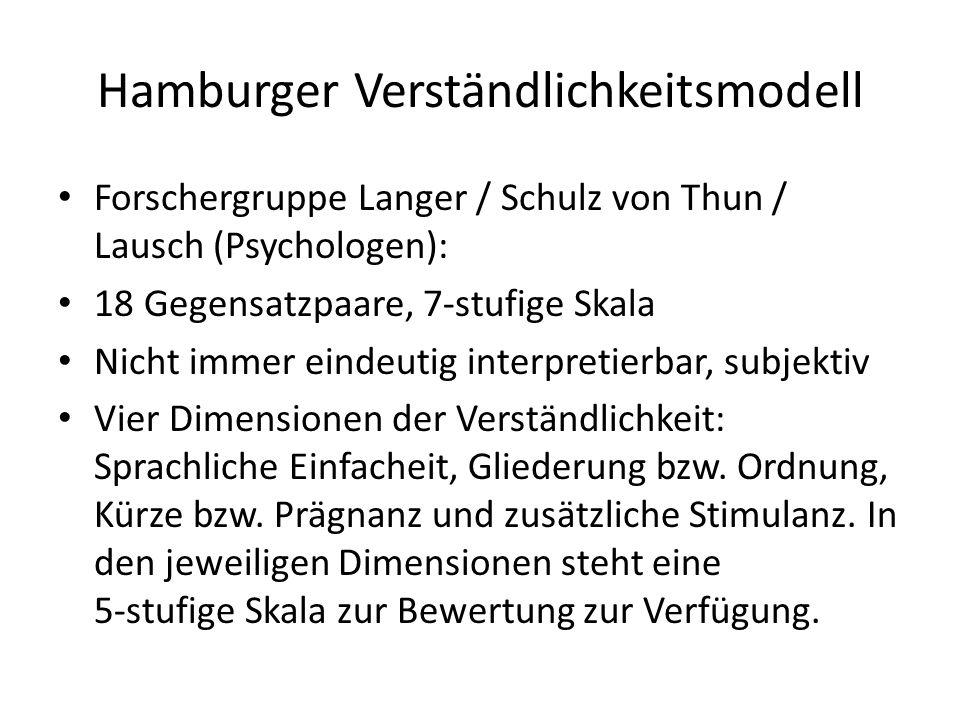 Hamburger Verständlichkeitsmodell Forschergruppe Langer / Schulz von Thun / Lausch (Psychologen): 18 Gegensatzpaare, 7-stufige Skala Nicht immer einde