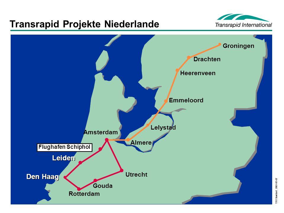 TRI Standard 2003-05-07 Groningen Drachten Heerenveen Emmeloord Lelystad Almere Utrecht Gouda Rotterdam Amsterdam Flughafen Schiphol Den Haag Leiden Transrapid Projekte Niederlande