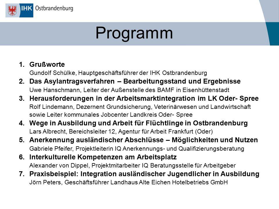 Programm 1.Grußworte Gundolf Schülke, Hauptgeschäftsführer der IHK Ostbrandenburg 2.Das Asylantragsverfahren – Bearbeitungsstand und Ergebnisse Uwe Ha