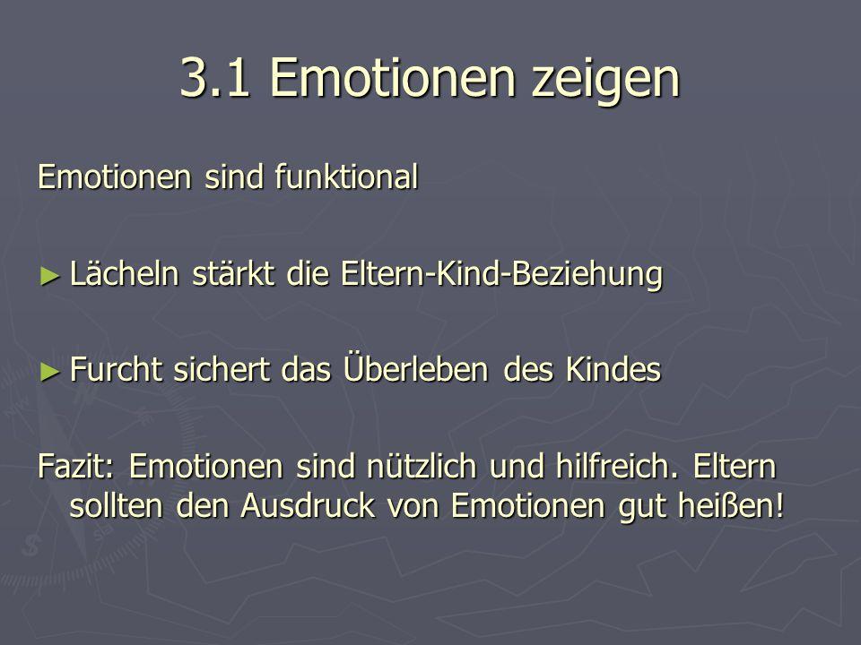 3.1 Emotionen zeigen Emotionen sind funktional ► Lächeln stärkt die Eltern-Kind-Beziehung ► Furcht sichert das Überleben des Kindes Fazit: Emotionen sind nützlich und hilfreich.