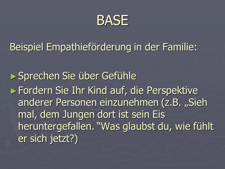 BASE Beispiel Empathieförderung in der Familie: ► Sprechen Sie über Gefühle ► Fordern Sie Ihr Kind auf, die Perspektive anderer Personen einzunehmen (z.B.
