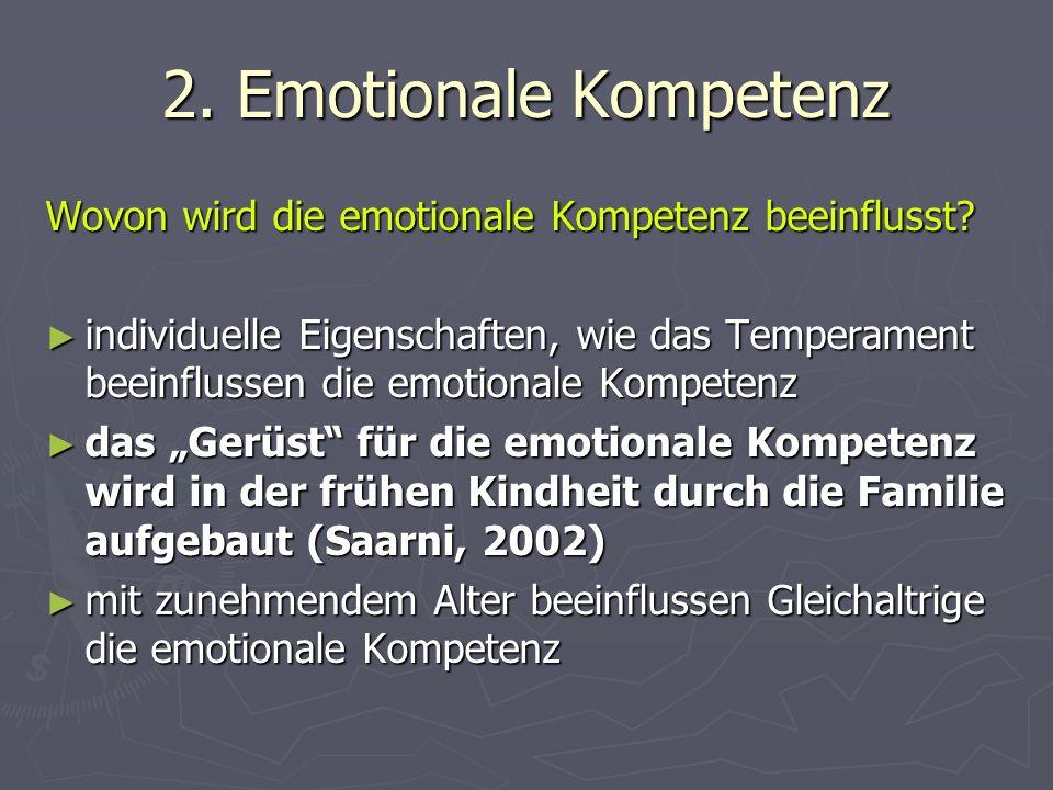 2. Emotionale Kompetenz Wovon wird die emotionale Kompetenz beeinflusst.