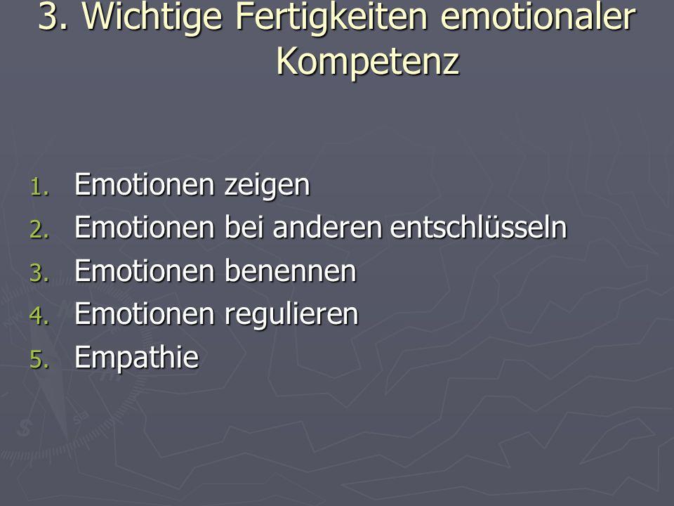 3.1 Emotionen zeigen ► ein Kind verfügt über angeborene Emotionsmechanismen ► Entwicklung des Ausdrucks primärer Emotionen  0-3 Monate:Wohlwollen versus Rückzug  ab 3 Monate: Primäremotionen: Freude, Ärger, Traurigkeit, Angst, Überraschung, Interesse  Ab 3 Jahre: komplexere Emotionen: Schuld, Stolz