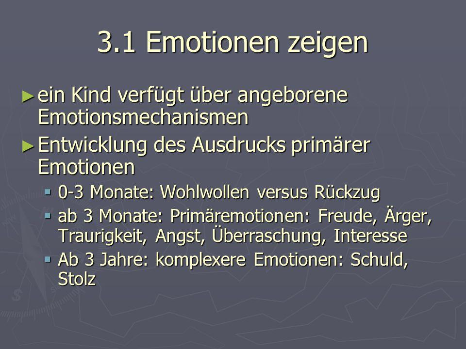 3.4 Emotionen regulieren ► Emotionsregulation bedeutet seinen emotionalen Zustand auf ein angenehmes Maß an Intensität zu bringen, um eigene Ziele zu erreichen und gesellschaftliche Normen und Regeln einzuhalten