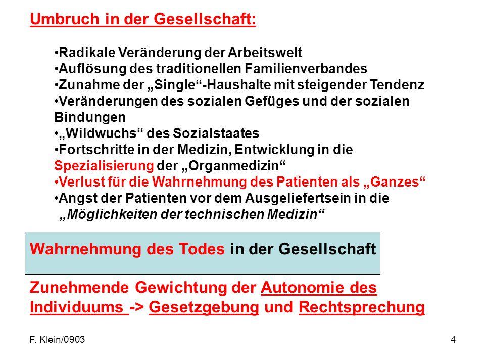 """F. Klein/09034 Umbruch in der Gesellschaft: Radikale Veränderung der Arbeitswelt Auflösung des traditionellen Familienverbandes Zunahme der """"Single""""-H"""