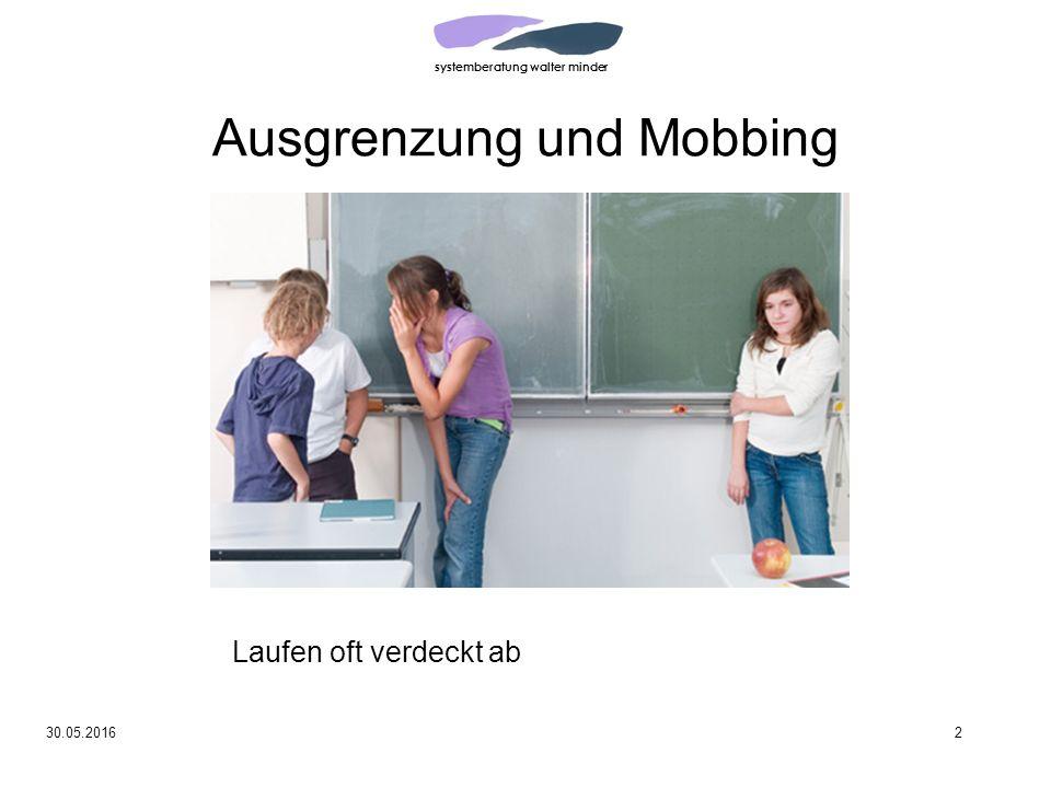 systemberatung walter minder 30.05.20162 Ausgrenzung und Mobbing Laufen oft verdeckt ab