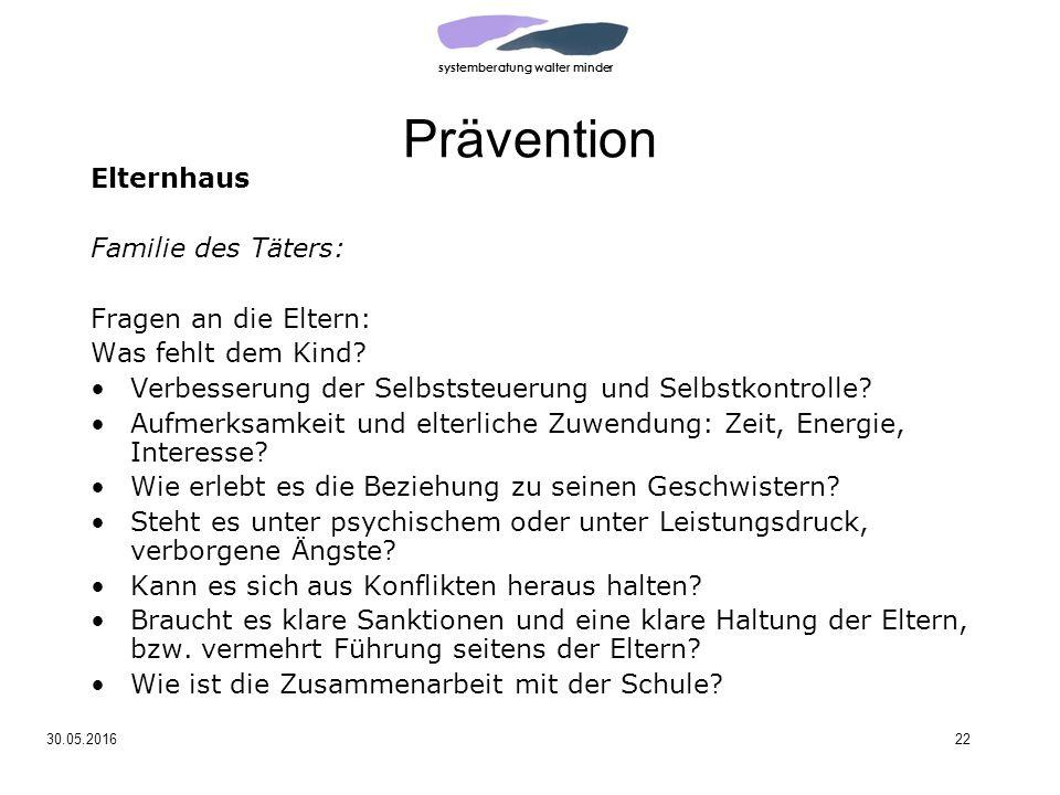 systemberatung walter minder 30.05.201622 Prävention Elternhaus Familie des Täters: Fragen an die Eltern: Was fehlt dem Kind.