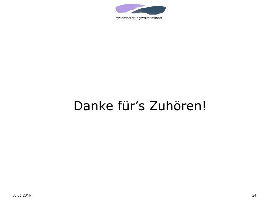systemberatung walter minder 30.05.201624 Danke für's Zuhören!