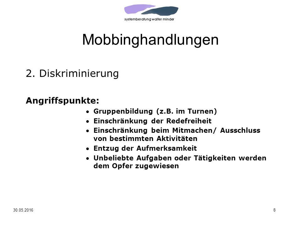 systemberatung walter minder 30.05.20168 Mobbinghandlungen 2.