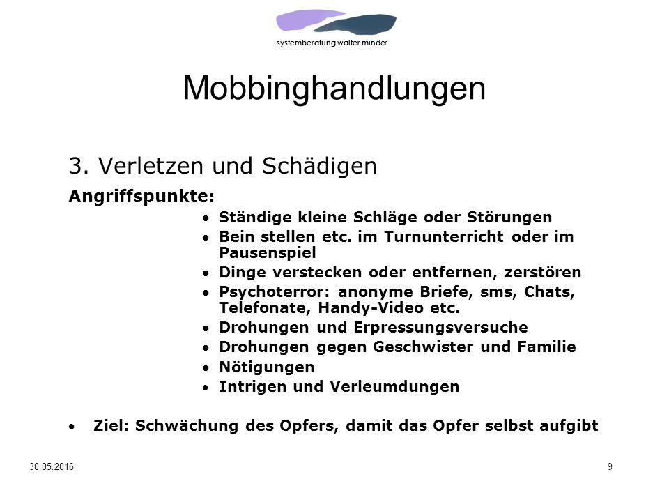 systemberatung walter minder 30.05.20169 Mobbinghandlungen 3.