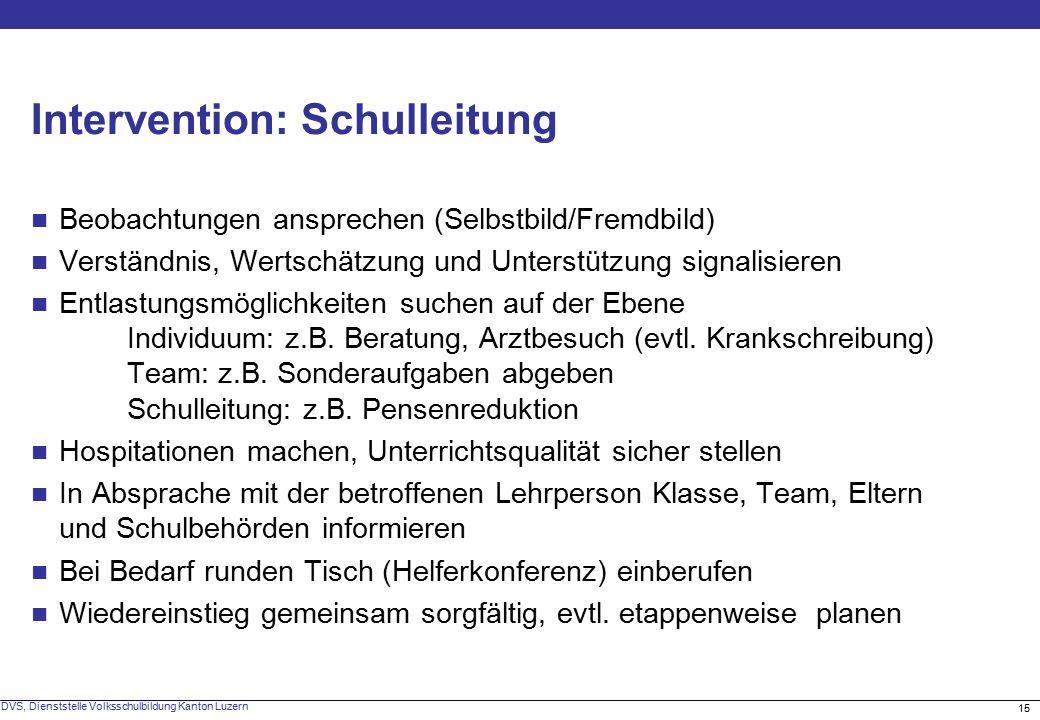 15 DVS, Dienststelle Volksschulbildung Kanton Luzern Intervention: Schulleitung Beobachtungen ansprechen (Selbstbild/Fremdbild) Verständnis, Wertschätzung und Unterstützung signalisieren Entlastungsmöglichkeiten suchen auf der Ebene Individuum: z.B.