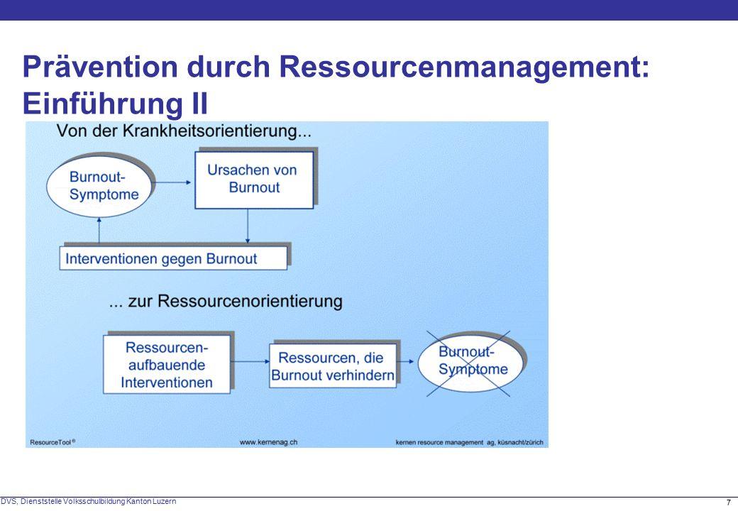 7 DVS, Dienststelle Volksschulbildung Kanton Luzern Prävention durch Ressourcenmanagement: Einführung II