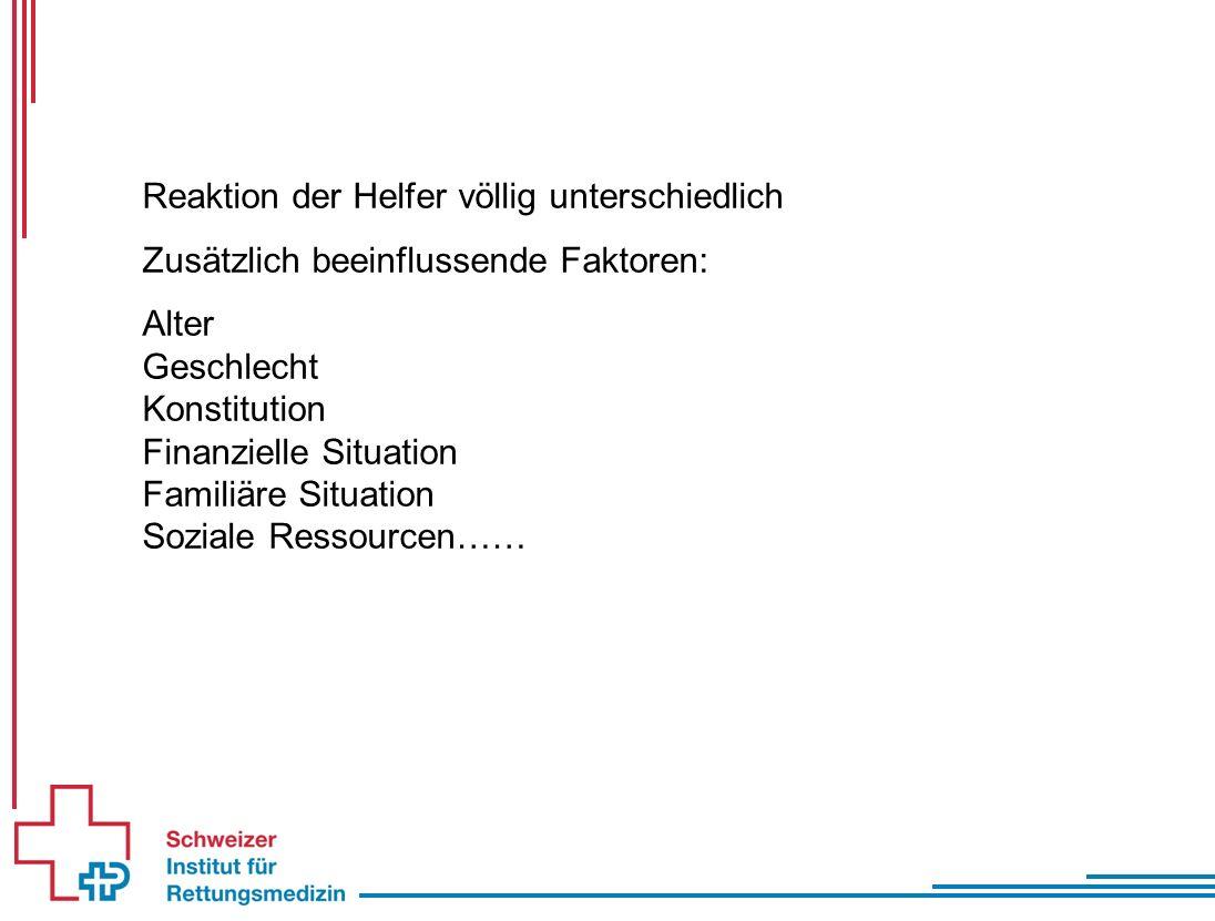 Reaktion der Helfer völlig unterschiedlich Zusätzlich beeinflussende Faktoren: Alter Geschlecht Konstitution Finanzielle Situation Familiäre Situation Soziale Ressourcen……