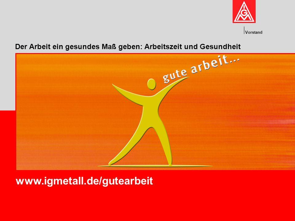 Vorstand www.igmetall.de/gutearbeit Der Arbeit ein gesundes Maß geben: Arbeitszeit und Gesundheit