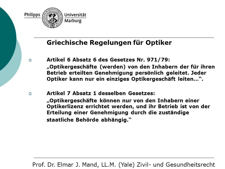 Griechische Regelungen für Optiker  Artikel 6 Absatz 6 des Gesetzes Nr.