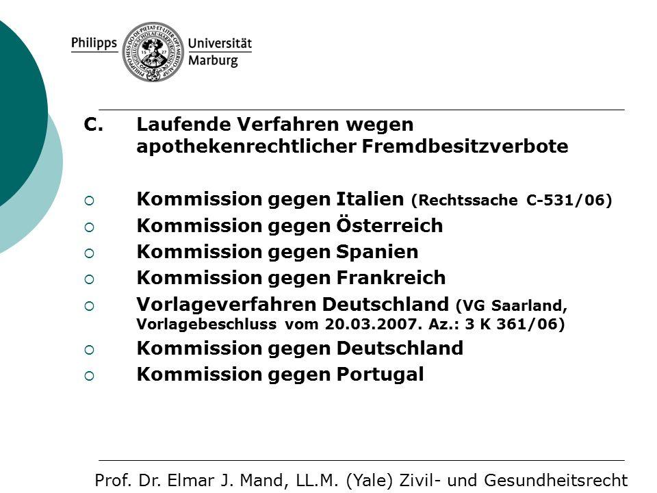 C. Laufende Verfahren wegen apothekenrechtlicher Fremdbesitzverbote  Kommission gegen Italien (Rechtssache C-531/06)  Kommission gegen Österreich 