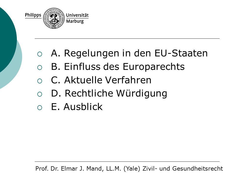  A. Regelungen in den EU-Staaten  B. Einfluss des Europarechts  C.