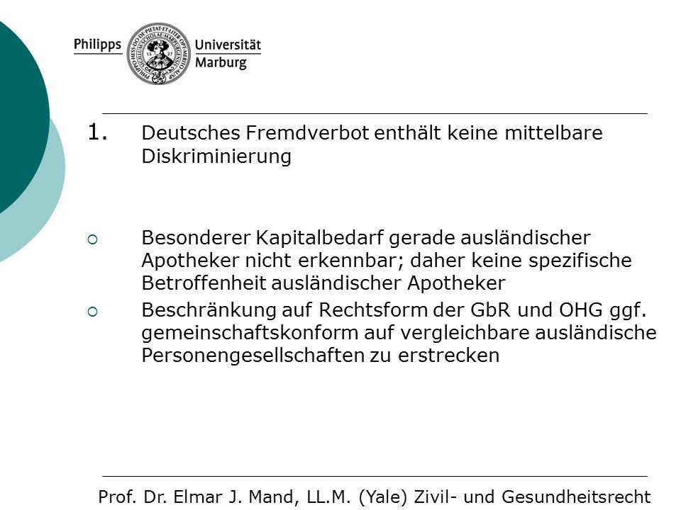 1. Deutsches Fremdverbot enthält keine mittelbare Diskriminierung  Besonderer Kapitalbedarf gerade ausländischer Apotheker nicht erkennbar; daher kei