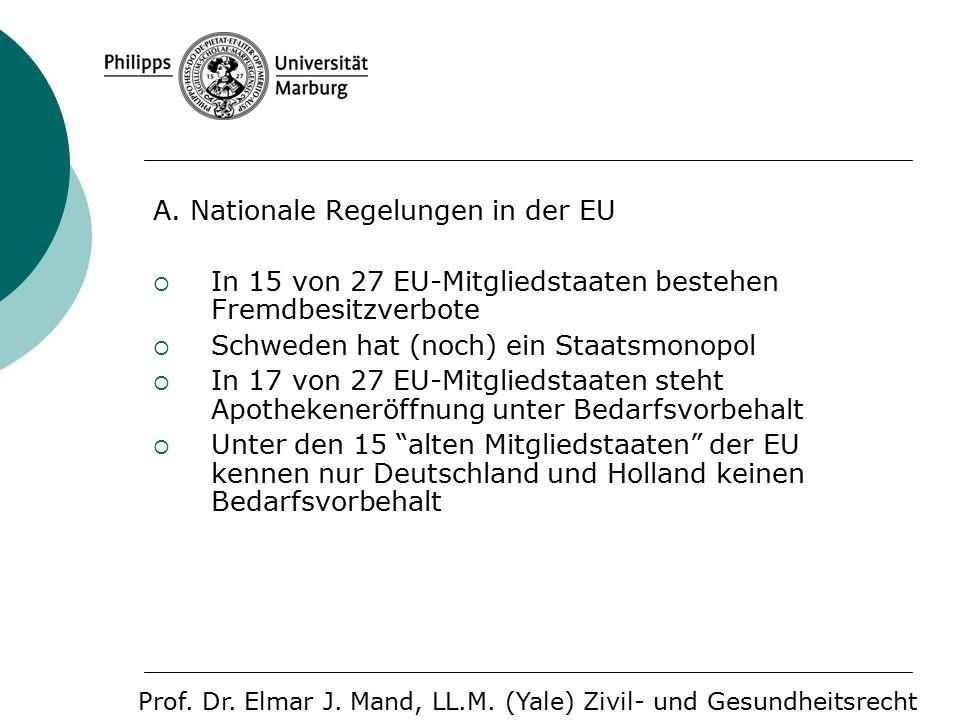 A. Nationale Regelungen in der EU  In 15 von 27 EU-Mitgliedstaaten bestehen Fremdbesitzverbote  Schweden hat (noch) ein Staatsmonopol  In 17 von 27