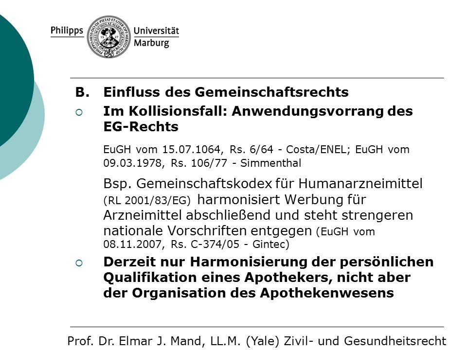 B. Einfluss des Gemeinschaftsrechts  Im Kollisionsfall: Anwendungsvorrang des EG-Rechts EuGH vom 15.07.1064, Rs. 6/64 - Costa/ENEL; EuGH vom 09.03.19