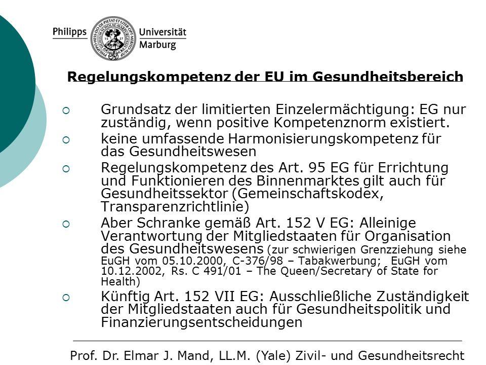 Regelungskompetenz der EU im Gesundheitsbereich  Grundsatz der limitierten Einzelermächtigung: EG nur zuständig, wenn positive Kompetenznorm existiert.