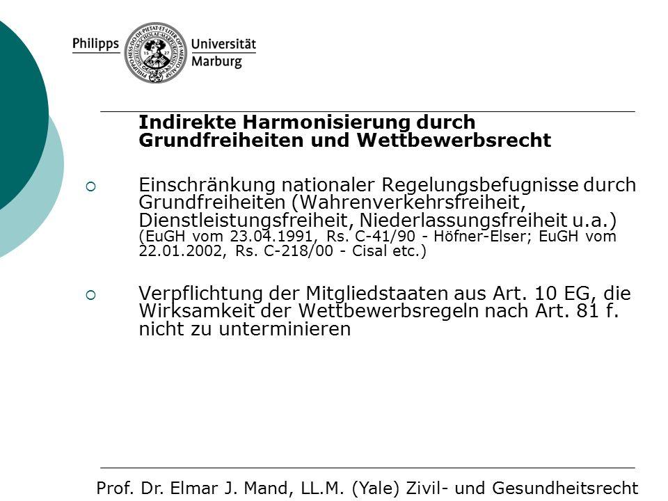 Indirekte Harmonisierung durch Grundfreiheiten und Wettbewerbsrecht  Einschränkung nationaler Regelungsbefugnisse durch Grundfreiheiten (Wahrenverkehrsfreiheit, Dienstleistungsfreiheit, Niederlassungsfreiheit u.a.) (EuGH vom 23.04.1991, Rs.