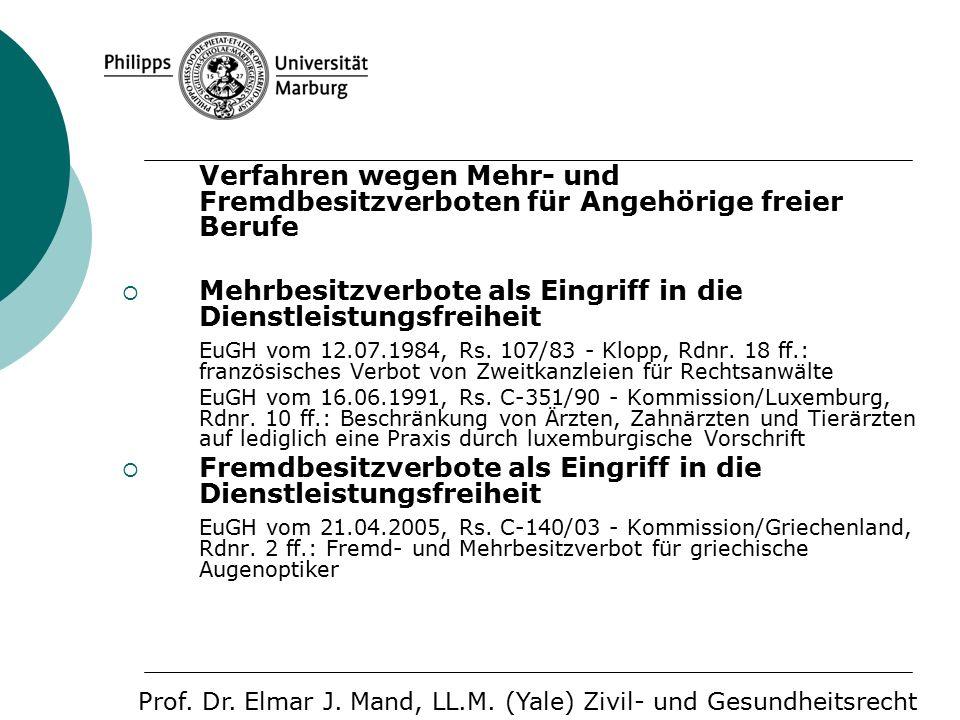 Verfahren wegen Mehr- und Fremdbesitzverboten für Angehörige freier Berufe  Mehrbesitzverbote als Eingriff in die Dienstleistungsfreiheit EuGH vom 12.07.1984, Rs.