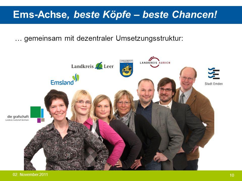 Ems-Achse, beste Köpfe – beste Chancen! … gemeinsam mit dezentraler Umsetzungsstruktur: 10 02. November 2011