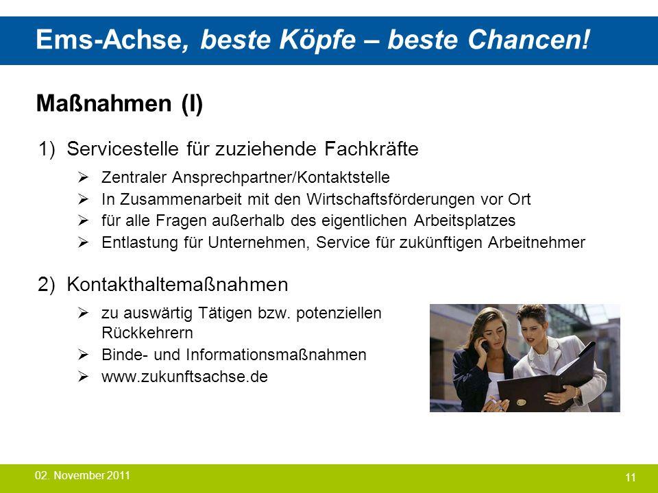 Ems-Achse, beste Köpfe – beste Chancen! Maßnahmen (I) 1) Servicestelle für zuziehende Fachkräfte  Zentraler Ansprechpartner/Kontaktstelle  In Zusamm