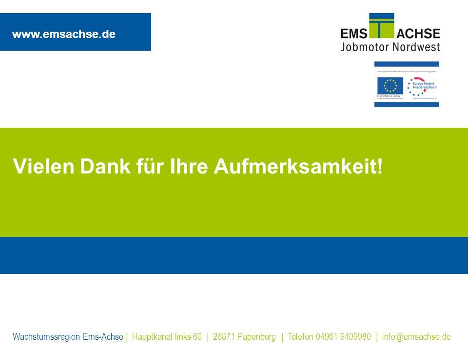 www.emsachse.de Wachstumssregion Ems-Achse | Hauptkanal links 60 | 26871 Papenburg | Telefon 04961 9409980 | info@emsachse.de Vielen Dank für Ihre Auf